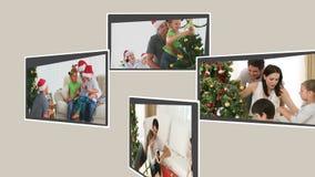 Montage von den Kindern, die Weihnachten feiern stock footage