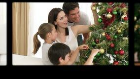 Montage von den Kindern, die Weihnachtstag vorbereiten stock video footage