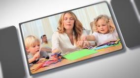 Montage von den Kindern und von Eltern, die zusammen Momente teilen stock video