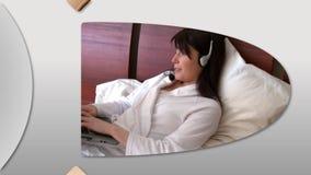 Montage von den netten Frauen, die einen Laptop verwenden stock abbildung