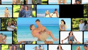 Montage von den Paaren, die zusammen Momente teilen stock video