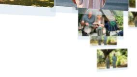 Montage von den reifen entspannenden und radfahrenden Paaren stock video