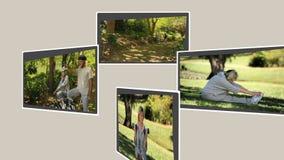 Montage von den reifen Paaren, die annd Trainieren sich entspannen stock video