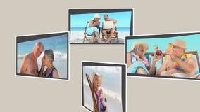 Montage von den reifen Paaren, die auf dem Strand sich entspannen stock video