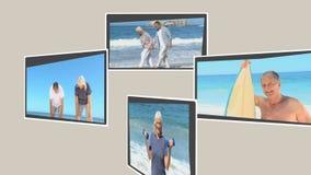 Montage von den reifen Personen, die während ihrer Feiertage sich entspannen stock footage