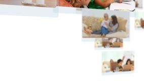 Montage von den reizenden Paaren, die Zeit mit ihren Kindern verbringen stock video footage