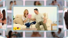 Montage von den reizenden Paaren, die zusammen verschiedene Arten von Momenten teilen und genießen stock video footage