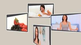 Montage von den verschiedenen Szenen, die gesunde Lebensstile veranschaulichen stock footage