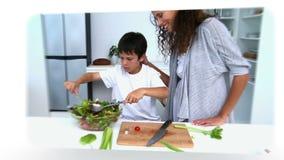 Montage von Familien in der Küche stock video