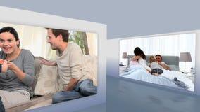 Montage von Familien zu Hause stock footage