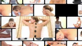 Montage von Frauen am Badekurort stock video