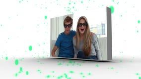 Montage von Freunden mit dem grünen Partikelfallen stock footage