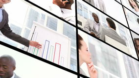 Montage von Geschäftsleuten bei der Arbeit lizenzfreie abbildung