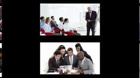 Montage von Geschäftsleuten in den verschiedenen Situationen Stockfotos