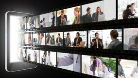 Montage von Geschäftsleuten in den verschiedenen Situationen Stockbilder