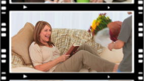 Montage von glücklichen Menschen in den verschiedenen Situationen stock video