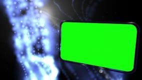Montage von grünen Schirmen auf galaktischem Hintergrund vektor abbildung
