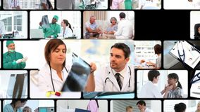 Montage von Leuten im Krankenhaus stock video
