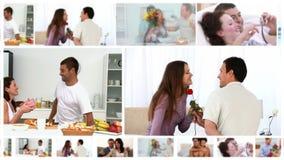 Montage von romantischen Paaren zu Hause stock video