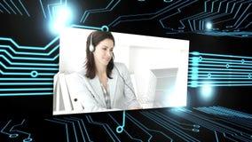 Montage von Situationen eines verschiedenen Call-Centers stock footage