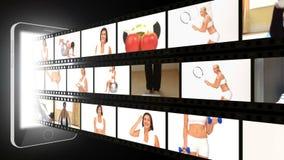 Montage von sportiven Frauen in den verschiedenen Situationen stock footage