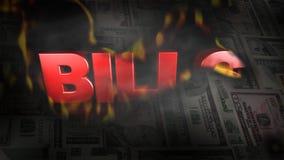 Montage von US-Geld brennt, um die Wort RECHNUNGEN aufzudecken lizenzfreie abbildung