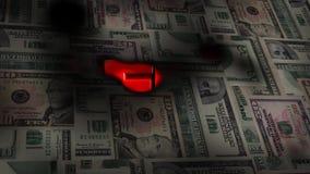 Montage von US-Geld brennt, um die Wort SCHULD aufzudecken stock abbildung