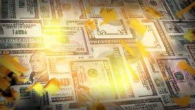Montage von US-Geld mit explodierendem Golddollar-Symbol vektor abbildung