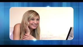 Montage von verschiedenen Frauen am Telefon stock video footage