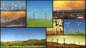 Montage of wind farms windmills renewable energy. Several different clips of various wind farm mills stock footage