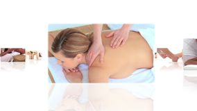 Montage of women having massage stock footage