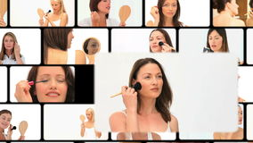 Montage of women putting make up stock footage