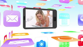 Montage of women using media devices on smartphone. With application icon background stock footage