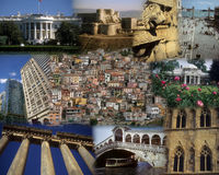 Montage - World landmarks Stock Photography