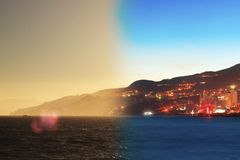 Montage of Yalta skyline night to day Crimea Royalty Free Stock Photography
