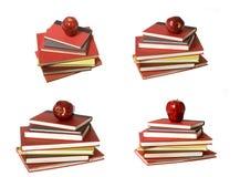 Montagem: Apple vermelho sobre sete livros Fotografia de Stock Royalty Free