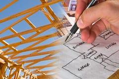 Montagem da construção do arquiteto Fotografia de Stock Royalty Free