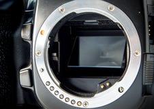 Montagem da lente da baioneta do metal do corpo da câmera de SLR sem lente foto de stock