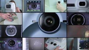 Montagem da tela rachada Globo ocular de exame automatizado moderno da máquina Fundo do exame de olho filme