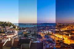 A montagem da vista aérea do telhado de Lisboa de Senhora faz a opinião de Monte Imagens de Stock