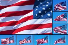 Montagem das bandeiras americanas Fotos de Stock Royalty Free