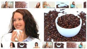 Montagem das mulheres bonitas que apreciam xícaras de café video estoque
