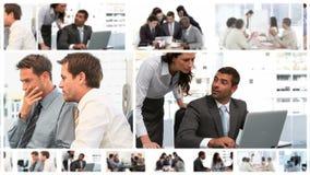 Montagem das reuniões de negócios video estoque