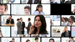 Montagem de chamadas do negócio vídeos de arquivo