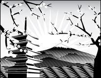 Montagem de Fuji, árvore de sakura ilustração do vetor