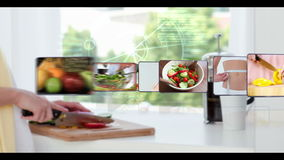 Montagem de grampos saudáveis comer video estoque
