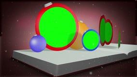 Montagem de uma abertura do livro e de presentes do Natal da exibição ilustração royalty free