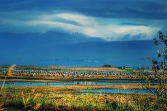 Montagem do lago dos pássaros das nuvens da natureza Imagem de Stock Royalty Free