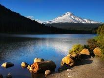 Montagem Hood Volcano, lago Oregon EUA Trillium foto de stock royalty free