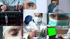 Montagem médica dos profissionais dos cuidados médicos que usam a tecnologia e vendo pacientes no hospital